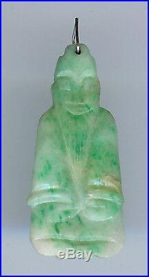 Vintage Carved Green & White Jade Buddha Pendant