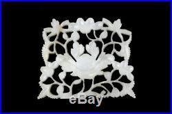 Vintage Carved Nephrite Jade Plaque with Floral Design