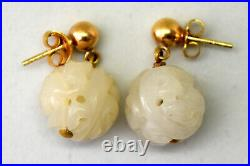 Vintage Chinese 14K Solid Gold and Untreated hand carved White Jade Earrings