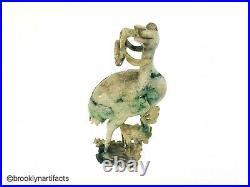 Vintage Chinese Apple Green & White Jadeite Hard Stone Bird Carving Figure