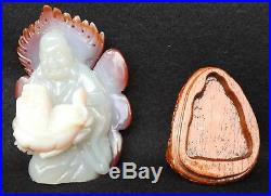 Vintage Chinese Carved Agate Statue Buddha with Foo Lion with Wood Stand Base