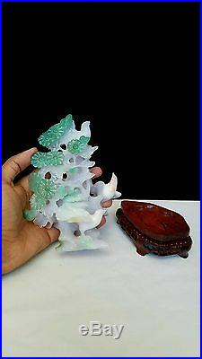 Vintage Chinese Carved Agate Stone Birds Flowers with Wooden Base