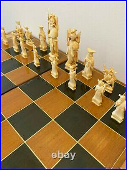Vintage Chinese Carved Bone Chess Set Complete in Box (has damage)
