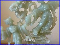 Vintage Chinese Carved Jade Figural and Bats Sculpture