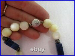 Vintage Chinese Carved Mother Of Pearl Lapis, White Stone Sterling Bead Necklace