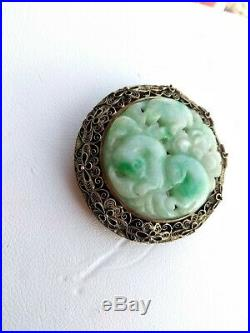 Vintage Chinese Carved White & Green Jade Silver Filigree Mounted Brooch Pendant