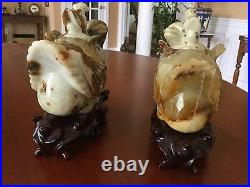 Vintage Chinese Hand Carved White & Russet Nephrite Jade Ducks with Wood Stands