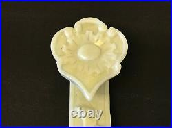 Vintage Chinese Hetian or White Nephrite Jade Ruyi Scepter Carving Floral Dec