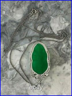 Vintage Chinese Jade Hand Carved Large Pendant on Chain White Metal