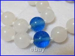 Vintage Chinese White Jade Beads, Carved Shu Peking Glass Necklace Silver Clasp