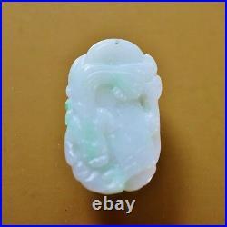 Vintage Chinese jadeite pendant natural white green jadeite fine carved and poli