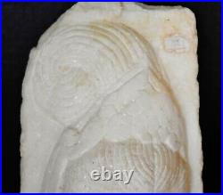 Vintage Kwan-yin sculpture Chinese white granite stunning carved archaic