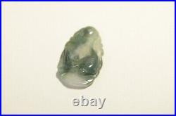Vintage Natural Green White Jadeite Jade Hand Carved Rat Mouse Zodiac Pendant