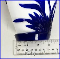 Vintage Peking Glass Vase Carved Cobalt Blue Cranes on White