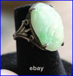 Vintage Sterling Silver 925 Carved Green & White Chinese Jade Ring Size 4