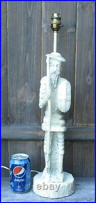Vintage Tall Carved Soapstone Chinese Warrior With Sword & Shield Lamp Base