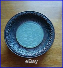 Vintage hand carved white jade & mahogany pendant table decoration c1900