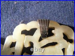 Vintage open work carved chinese WHITE JADE pendant 13 grams old silver clasp