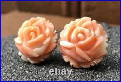 Vtg Chinese 18k White Gold Large Carved Angel Skin Coral Flower Rose Earrings