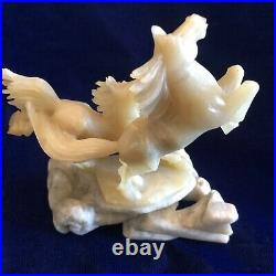 Vtg Chinese Carved White Jade Horse Alabaster Base Running Lucky Figurine Statue