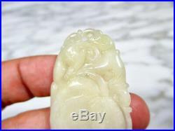 Vtg Chinese Cream White Jadeite Jade Carved Peach Pixiu Necklace Pendant Antique