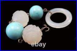 WHITE JADE Antique Carved BEADS Turquoise LOT Ring QING