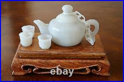 Well Hand Carved Chinese White Jade Teapot Set