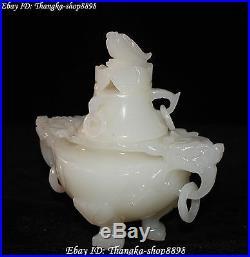 White Jade Carving Dynasty Dragon Dragons Animal Incense Burner Censer Incensory