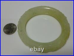 White Nephrite Jade Carved Asian Oriental Chinese Export Bangle Bracelet Large