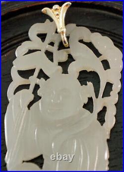 White / Pale Green Jade Pendant Carved Pierced Buddha / Elder 14K Gold Bail