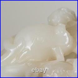 White nephrite Hetian Jade carving three ram sheep goat