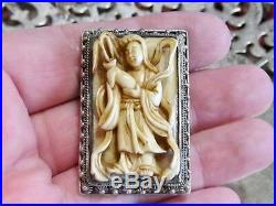 Wildly Interesting Antique Chinese Pin Brooch Deep Carved Figural Mahjong Tile