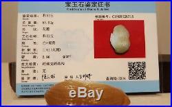 Xinjiang hetian nephrite jade pebble carved peanut & mice pendant w certificate